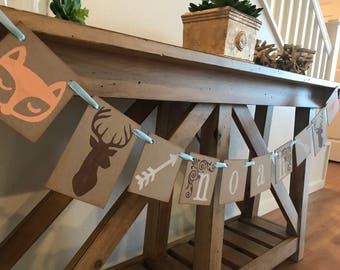Woodland Baby Shower Banner / Custom With Childs Name /Baby Shower Decor / Wild One Deer and Fox / Woodland Nursery Decoration
