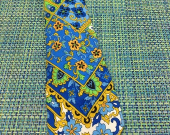 1960's Mens Bright Blue and Green Wide Floral Cotton Necktie - mens wide necktie, 1960's necktie, blue floral necktie