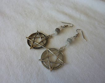 Labradorite Quartz Pentacle Dangle Earrings - 2 3/4 Inches