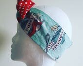 Vintage baking print hairtie Rockabilly hair Vintage head wrap Rockabilly Accessories Retro Bandana 1950s headscarf red polkadot