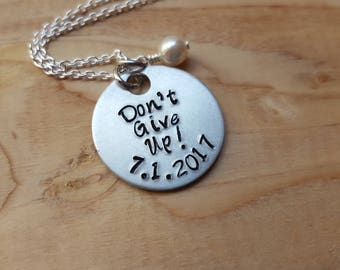 "JW Regional Convention Necklace- ""Don't Give Up!"" with a date of your choice and an accent bead in your choice of colors"