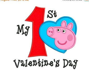 ON SALE My First Peppa Pig VALENTINE Machine Applique Embroidery - Instant Digital Download