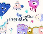 Monsters Clipart/ Watercolor Monsters/ Party Monsters/ Quirky Monsters/ Funny Monsters/ Colorful/ Cute Monsters/ Colourful Monsters
