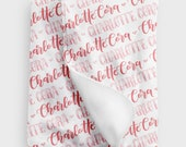 Swaddle - Girl Hearts - Hand lettered Swaddle - 2 Custom colors baby swaddle - Birth announcement - personalized swaddle