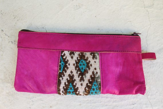 Leather wallet, fuschia leather womens wallet, pink wallet, pochette femme