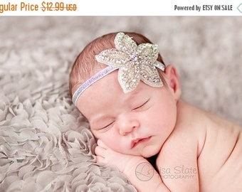 10% SALE Vintage headband, Baby headband, newborn headband, trim headband, adult headband, and photo prop amazing rhinestone flower headband