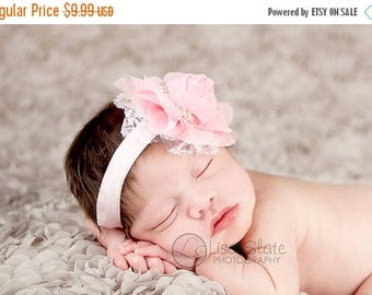 10% SALE SALE Baby headbands, newborn headband, adult headband, child headband and photography prop The Single Sprinkled- Chiffon Lace Rose-