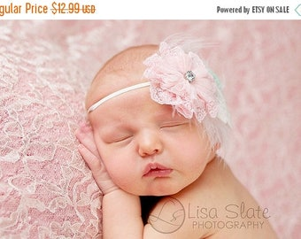 12% off Baby headband, newborn headband, adult headband, child headband and photography prop Lacey fuzzy flower sprinkle headband