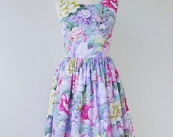 On Sale SALE Floral  bridesmaid dress, cotton bridesmaid dress, floral dress, vintage inspired dress Size 8 -  SALE
