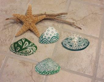 Zentangle Painted  Sea Shell Home Coastal Decor Green and White Art  Nature Tropical Beach
