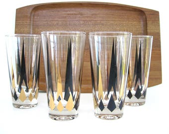 MId Century  Glass Tumbler Set Tall Gold Black Diamond Arrow Golden Peaks Cocktail Glasses Barware Atomic 12 oz Weighted Bottom