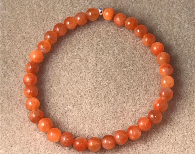 Orange Calcite Bracelet, Calcite Beaded Bracelet, Stretch Bracelet, Bead Bracelet, Beaded Bracelets, Gemstone Bracelets, Bead Bracelets, 6mm