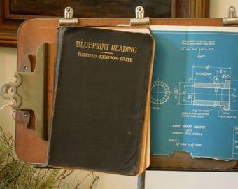 Vintage blueprints etsy antique vintage 1919 blueprint reading book american technical society fairfield kenison waite blueprints copyrighted malvernweather Gallery