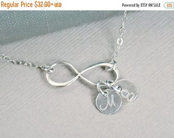 SALE - Infinity Necklace 1 2 3 4 5 6  Initials, Sterling SILVER Infinity Jewelry, Monogrammed Necklace, Mother's Necklace, Personalized Jewe