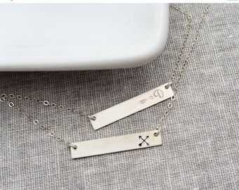 SALE - Sterling Silver Bar Necklace, Initial Personalized Jewelry, Name plate Necklace, Celebrity Inspired Jewelry, Christmas Gift for Her
