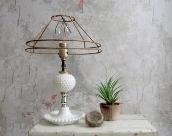 Milk Glass Lamp , White Hobnail Milk Glass Bedside Lamp , Saucer Base White Table Lamp