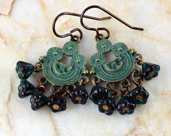 Zola Patina Green Chandelier Czech Glass Beads Boho Chic Earrings