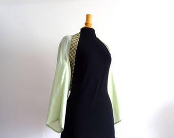 Boléro kimono mariage en crêpe vert d'eau et coton japonais T40/42
