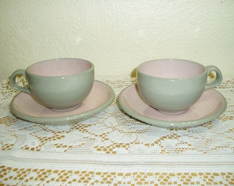 Two Harker Shell Pink Cups and Saucers