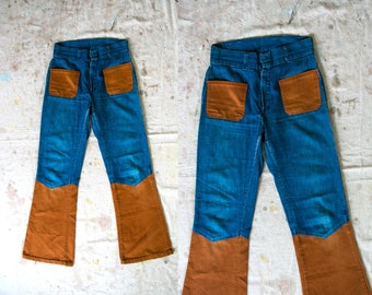 Vintage 1970's Patchwork Two Tone Faded Blue Jeans Flares High Waist Unisex Adults Hippie/Retro/Boho/Woodstock 60's 70's 28 inch Waist