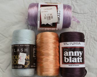 Nylon Ribbon Yarn Victoria by Anny Blatt and Flash by Bouton D'Or