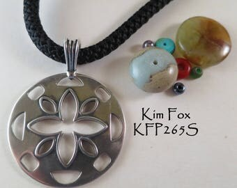Cut Flower Pendant 1 1/2 by 2 inches in sterling silver -two sided - designed by Kim Fox
