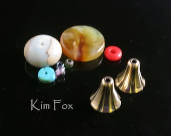Small Bell Flower Cones in Golden Bronze 14mm by 10mm opening designed by Kim Fox