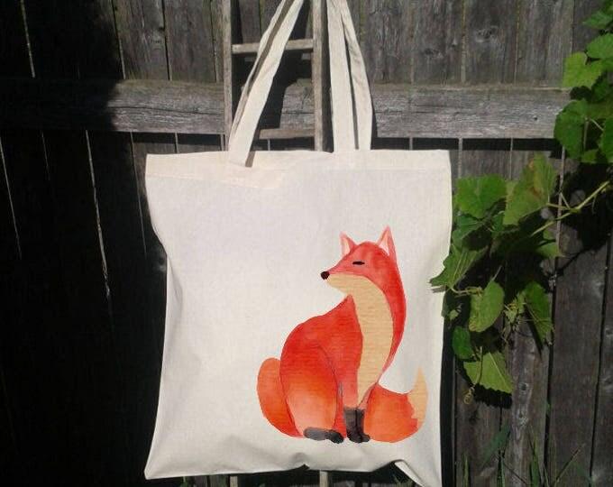 Fox Tote Bag, Reusable Tote Bag, Watercolor Fox, Grocery Bag, Forest Animal Tote