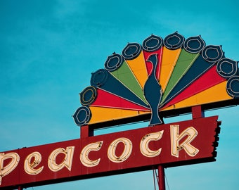 Peacock Market Neon Sign Print | Retro Home Decor | Neon Sign Art | Roadside America | Retro Roadside | Retro Kitchen Decor | Clovis Art