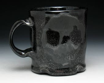 Metallic Blackout Triple Skulls Coffee Mug