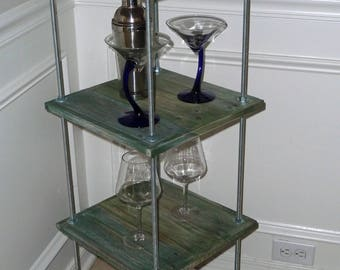 Reclaimed Wood Wine Rack, Small Bar Table, End Table, Kitchen Storage Rack Table, Reclaimed Wood Bar Table