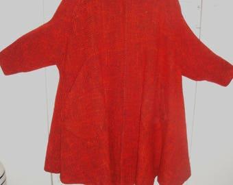 vintage 1950s neiman marcus orange black tweed womens swing coat sz 18-20 rockabilly