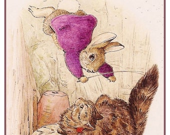 GREAT SALE Benjamin Rabbit Falls on a Cat by British Author and Artist Beatrix Potter Counted Cross Stitch Chart Graph Pattern