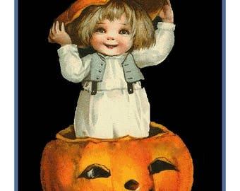 Sweet Sale Digital DOWNLOAD Child in a Pumpkin Hat Vintage Halloween Counted Cross Stitch Chart / Pattern