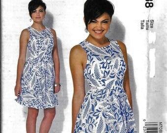 McCalls M7088 Fitted Bodice Full Skirt Dress Sleeveless Sewing Pattern 7088 UNCUT Size 14, 16, 18, 20, 22