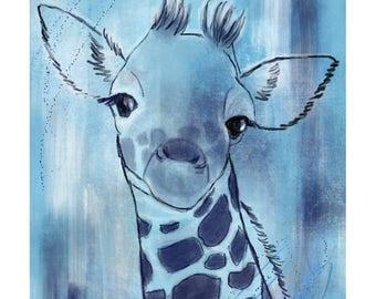 12x16 Inch Nursery Print - Giraffe, Blue