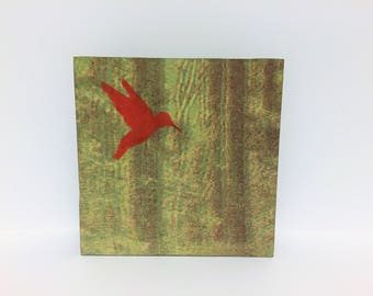 Forest Art - Forest Art Lithography - Forest Lithography on Paper - Enchanted Forest Art Print - Red Bird in Green Forest art