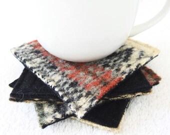Wool Coasters BLACK & BEIGE BOHO Tribal Aztec Coasters Recycled Mug Rugs Felted Sweater Wool Coasters Home Decor Gift by WormeWoole