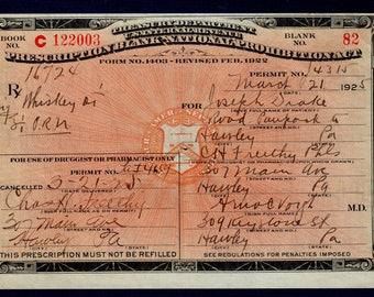 3/21 1925 Drake Whiskey Prohibition Prescription Pharmacy Bar Doctor Hawley PA Pennsylvania Speakeasy Drug Store Pharmacist Mixologist Gift