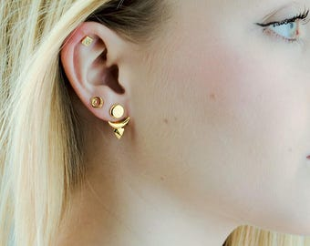 Sun & Moon Ear Jacket, Sterling Silver and Gold Plated, Geometric Jacket Earrings, Edgy, Modern Jewelry, Gift for Her, LUNAI, EJK006