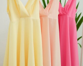 Flash SALE Pink blush dress Butter yellow dress pink dress bow shoulder dress sundress bridesmaid dress party dress wedding bridesmaid dress
