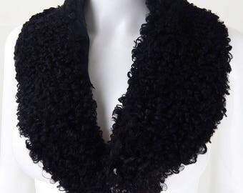 Original 1960s Vintage Black Astrakhan Fur Collar
