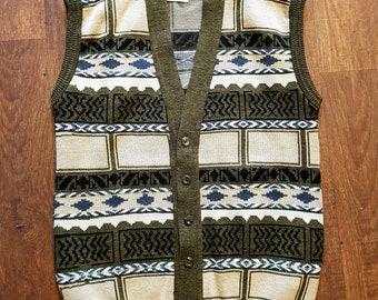 Mens Original 1970s Vintage Sleeveless Pullover Tank Top Mod Skinhead Small