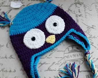 Baby owl hat- ready to ship child size