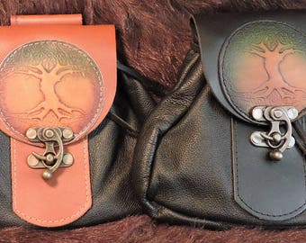 In Stock Large Economy Sporran Design Leather Belt Bag / Pouch Medieval, Bushcraft, Costume, Ren Faire, Tree of Life