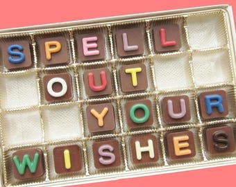 ship AFTER 8/7 Customized Chocolate Message Personalized Candy Letters Holiday Gift for Kids Man Woman Gift for Him Her 24 pc Jelly Bean Cho