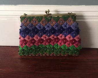 Vintage mutli colored diamond upholstery  style snap purse hand tapestry sixties 60s yarn