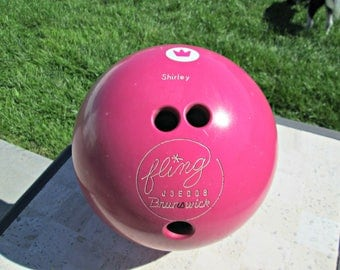 "Vintage Bowling Ball | Brunswick Fling Hot Pink Bowling Ball | ""SHIRLEY"" Engraved Vintage MCM Bowling Ball with Atomic Starburst Detail"