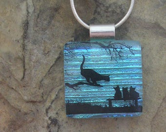 Cat Necklace Fused Glass Jewelry Dichroic Glass Cat Pendant