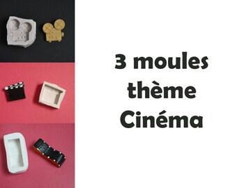 Lot 3 moules en silicone thème cinéma pour décoration et loisirs créatifs